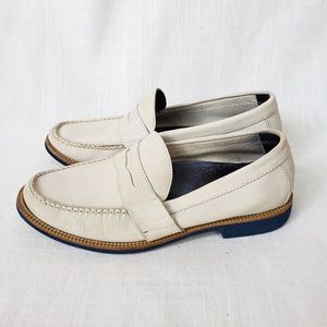 White leather penny loafer